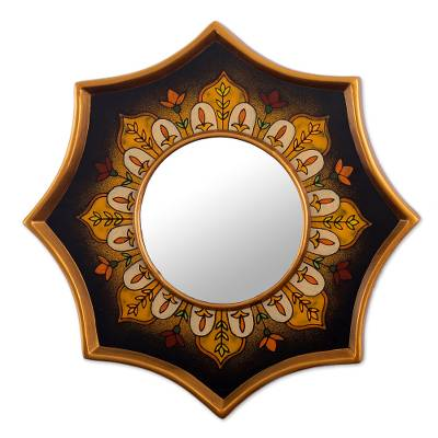 Hand Painted Glass Accent Mirror