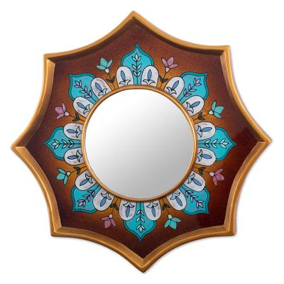Brown Hand Painted Glass Accent Mirror
