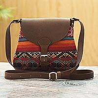 Wool and leather shoulder bag, 'Cusco Inspiration'