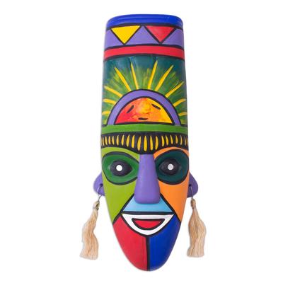 Ceramic mask, 'Inca Priest' - Hand Crafted Ceramic Mask