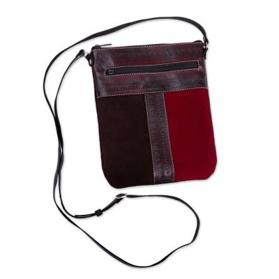 Leather and suede sling bag, 'Cusco Cartouche' - Artisan-Crafted Leather and Suede Sling