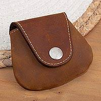 Leather coin purse, 'Spare Change'