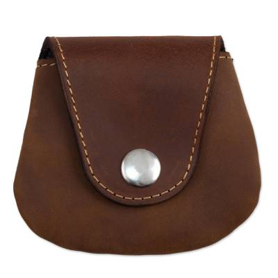 Leather coin purse, 'Spare Change' - Unisex Brown Leather Coin Purse