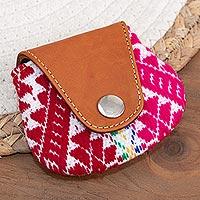 Leather and alpaca blend coin purse, 'Cusco Beauty'