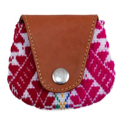 Leather and alpaca blend coin purse, 'Cusco Beauty' - Alpaca Blend Coin Purse with Leather