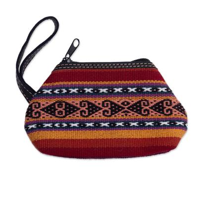 Leather accent alpaca blend coin purse, 'Cusco Sunset' - Multi-colored Alpaca Blend Coin Purse