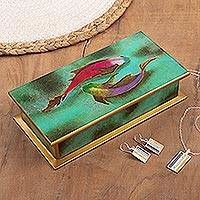Reverse-painted glass decorative box, 'Ocean Harmony in Green'