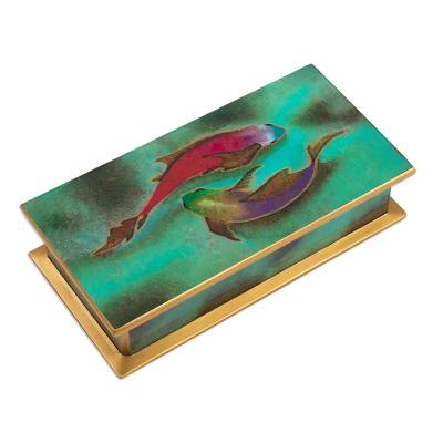 Hand Painted Glass and Wood Decorative Box