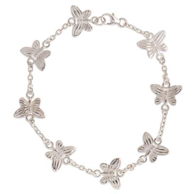 Sterling silver link bracelet, 'Butterfly Chain' - Butterfly Motif Link Bracelet