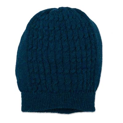 Knit Baby Alpaca Hat in Teal
