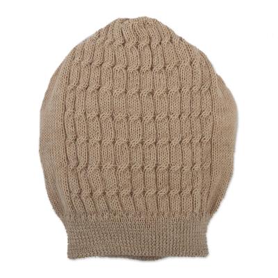 Knit Beige Baby Alpaca Hat