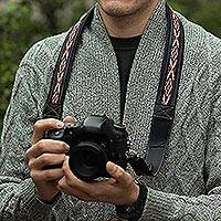 Leather and wool camera strap, 'Inca Adventure'