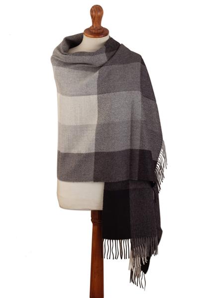 Super Soft Grey Plaid Alpaca Wool Patterned Scarf