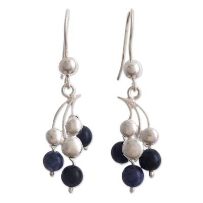 Silver and Sodalite Dangle Earrings