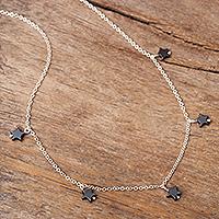 Hematite charm necklace, 'Perfect Stars' - Star Motif Hematite Necklace