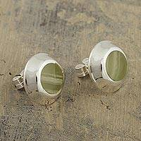 Calcite button earrings, 'Distant Lands' - Green Calcite Button Earrings