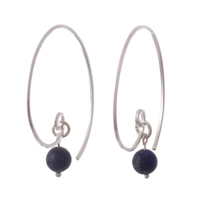 Half-Hoop Earrings with Lapis Lazuli