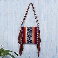 Suede-accented wool shoulder bag, 'Inca Inspiration'