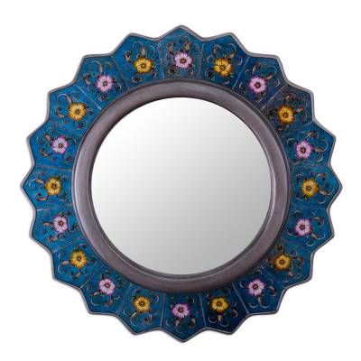 Blue Reverse-Painted Mirror