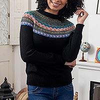 100% alpaca sweater, 'Northern Dream' - Crew Neck 100% Alpaca Sweater
