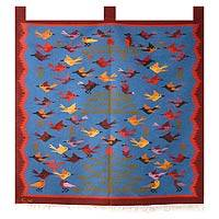 Alpaca tapestry, 'Ayacucho Spring' - Fair Trade Alpaca Wool Bird Tapestry