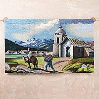 Wool tapestry, 'Apurimac Traveler' - Wool tapestry