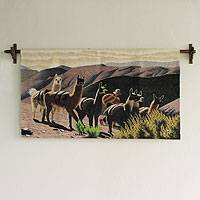 Wool tapestry, 'Herd of Llamas' - Wool tapestry