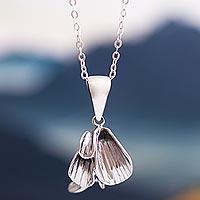 Sterling silver pendant necklace, 'Petals' - Floral Sterling Silver Necklace