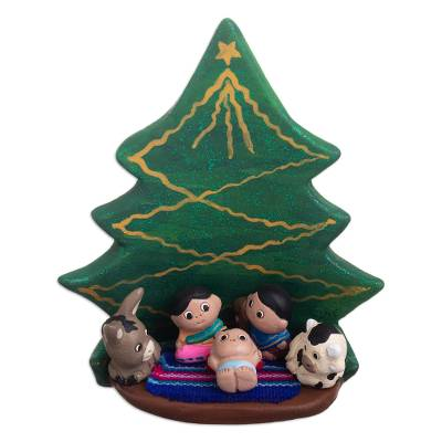 Artisan Crafted Ceramic Nativity Sculpture