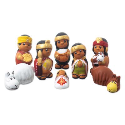 Handmade Inca Style Nativity Scene (8 Pieces)