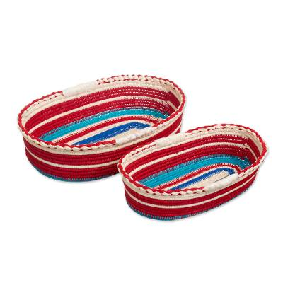 Woven Palm Fiber Baskets (Pair)