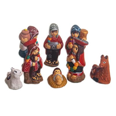 Hand Painted Ceramic Nativity Scene (8 Pieces)