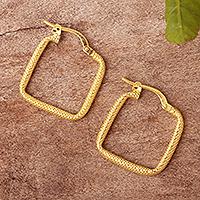 Gold plated hoop earrings, 'Diamond Squares' - 18k Gold Plated Hoop Earrings