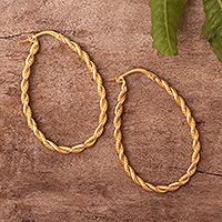 Gold plated sterling silver hoop earrings, 'Times Two' - Artisan Crafted Gold Plated Hoop Earrings