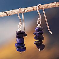 Lapis lazuli beaded dangle earrings, 'Naturally Blue' - Sterling Earrings with Lapis Lazuli