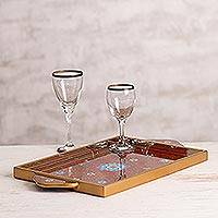 Painted glass tray, 'Crimson Garden' - Reverse Painted Glass Serving Tray