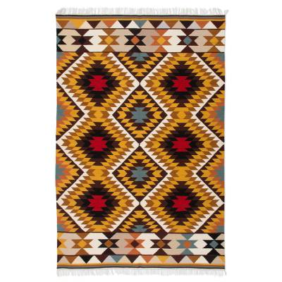 Wool rug, 'Star' (4.5x6.5) - Wool rug (4.5x6.5)
