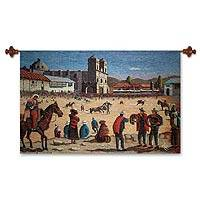 Wool tapestry, 'Bullfight in Cuzco' - Wool tapestry