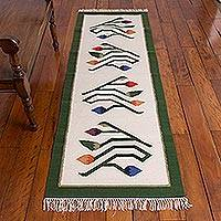 Wool runner, 'Sun Tulips' (2x7) - Hand Crafted Floral Wool Area Rug (2x7)