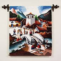 Wool tapestry, 'Bridge of Entry' - Wool tapestry