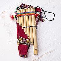Bamboo zampoña panpipe, 'Malta Professional' - Unique Bamboo Zampona Panpipe with Case