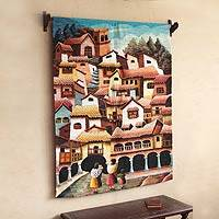 Wool tapestry, 'Cuzco Streets' - Wool tapestry