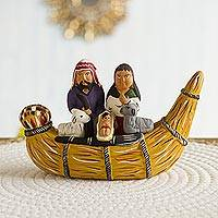 Ceramic figurine, 'Nativity in a Canoe' - Unique Nativity Scene Ceramic Sculpture