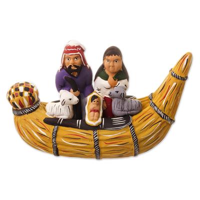 Ceramic figurine, 'Nativity in a Canoe' - Unique Nativity Scene Ceramic Sculpture