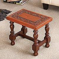 Cedar and leather mini side table, 'Inca' - Hand Crafted Cedar Leather Brown Accent Table
