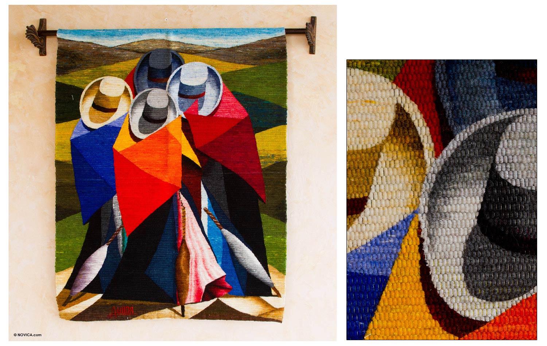 Peruvian Cultural Wool Tapestry Wall Hanging Cubist Women Novica