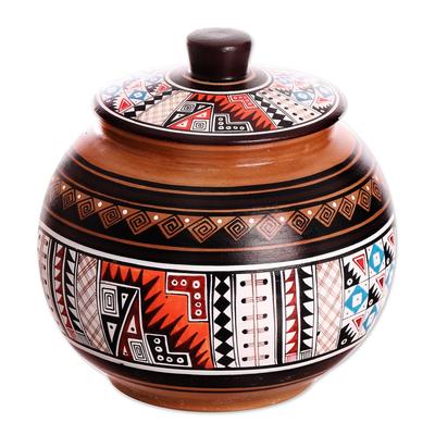 Cuzco jar, 'Timeless' - Cuzco Decorative Ceramic Jar