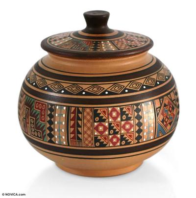 Cuzco jar, 'Revered Inca Icons' - Fair Trade Cuzco Ceramic Decorative Jar