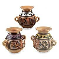 Cuzco vases, 'Inca Triumph' (set of 3) - Decorative Handmade Cuzco Ceramic Vases (Set of 3)