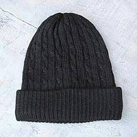 100% alpaca hat,'Black Braid Cascade' - 100% alpaca hat